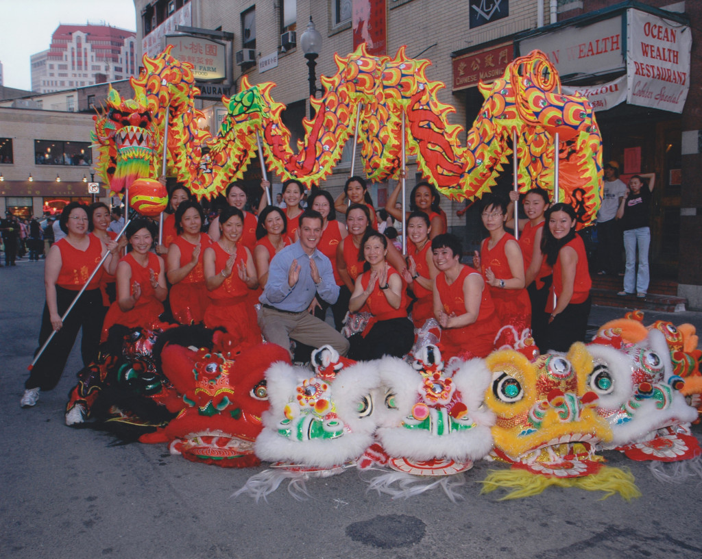 Gund Kwok Asian Women's Lion and Dragon Dance Troupe, Boston, MA with Matt Damon
