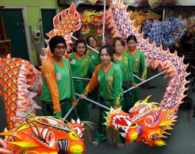 female members of the Malaysia Khuan Loke Dragon and Lion Dance Association
