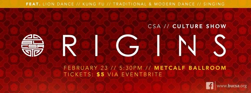 BUCSA Presents: Origins (CSA Culture Show)