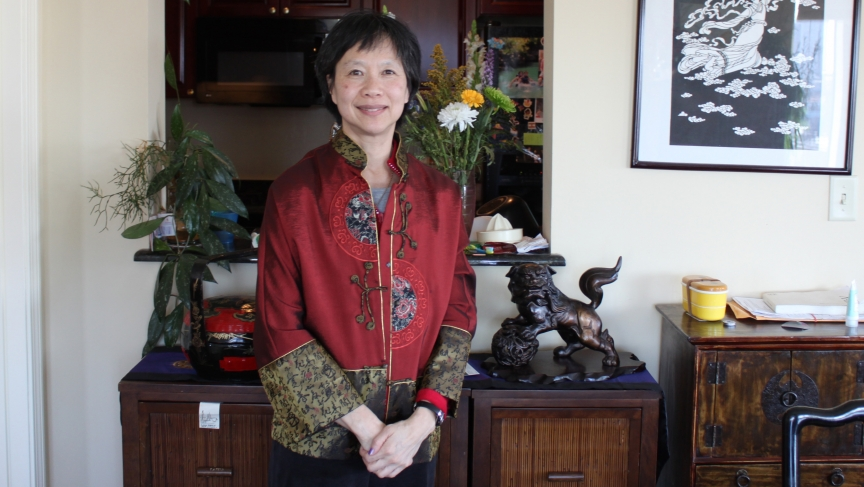 GK Founder & Troupe Leader, Cheng Imm Tan at home in Boston. (Credit: Jeb Sharp)