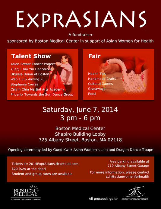 ExprASIANS - fundraiser sponsored by Boston Medical Center in support of Asian Women for Health